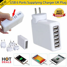New 6 USB Multi Ports Adapter Travel Wall AC Charger with UK/EU/US/AU Plug
