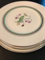 "3 Syracuse China OLD IVORY CORABEL FLOWERS 6 1/4"" BREAD DESSERT PLATES Mint!!"