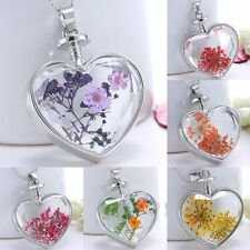 Real Dried Pressed Flower Necklace Heart Photo Glass Locket  Pendant Jewelry Hot
