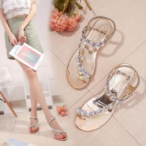 2021 Women's Summer Wedge Sandals Crystal Beach Flat Heel Thong Shoes Rhinestone