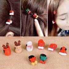 2pcs Cute Christmas Tree Snowman Mini Round Buckle Hairpin Hair Clips Favors