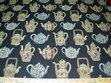 "~2 4/8 YDS~ ""ENGLISH TEA POTS"" AWSOME TAPESTRY UPHOLSTERY FABRIC FOR LESS~"