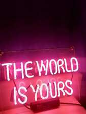 The World Is Yours Pink Artwork Neon Light Sign Beer Bar Home Wall Display Gift