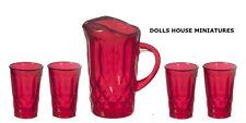 Rojo lanzador & cuatro vasos, Casa De Muñecas Miniaturas, escala 1.12th