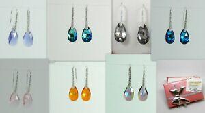 Sterling Silver Earrings Swarovski Crystal Earwire Dangle drop women bridal Girl