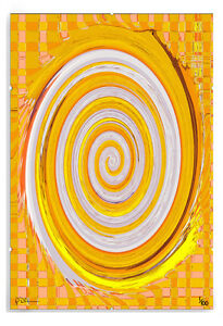 Yellow Modern Spiral Patch Abstract Limited Edition Print in A3 Clip Frame