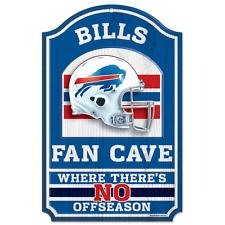 "Buffalo Bills Fan Cave Wood Sign NEW! 11"" x 17"" - NEW LOGO"