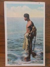 Antique Postcard of Hawaiian Fisherman Native Hawaii Fishing Vintage