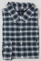 Polo Ralph Lauren Navy Green Cream Plaid Button Down Custom Fit Dress Shirt NWT