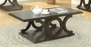 Coaster Modern C-Shaped Base Wood Coffee Cocktail Table Cappuccino 703148