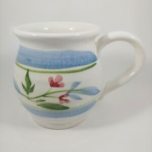 HANDMADE Blue Floral Pottery Mug - 14oz Large Coffee Cup w Pink Flowers