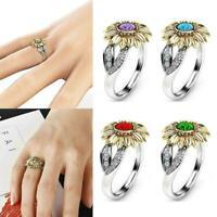 Lager Frauen Sonnenblume Silber Ring Überzogene Zirkon Hochzeit Versprechen A9A4