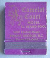Camelot Court Motel 1600 Central St Prince George BC Sagebrush Matchbook (MK1)