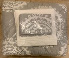 Pottery Barn Teen 5PC Medallion Florette XL TWIN Bedding Set GRAY