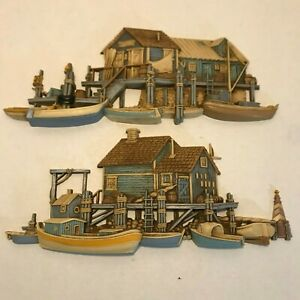 Vintage Burwood Products 1970's Seaside Wharf Boat Dock Wall Plaques 1505 & 1506