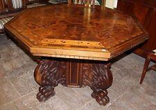 Tavolo neorinascimentale Napoleone III piano intarsiato zampa leonina - '900