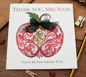 "Handmade Personalised Thank You Teacher Teaching Assistant Card ""Apple"""