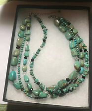 Silpada 4 Strand Turquoise Obsidian Glass & SS Beads Necklace RETIRED - N1299