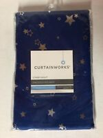"CurtainWorks Starry Night Room Darkening Rod Pocket Single Panel, Blue 40"" x 84"""