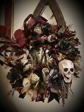 Halloween Holiday Wreath (Handmade) - Skull/Spider Black/Royal Purple Metal/Mesh