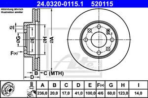 ATE Brake Disc For OPEL DAEWOO CHEVROLET Ascona C Astra F Van Combo Tr B 569054