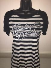 "Harley-davidson Women's S/S Black & White Striped Shirt ""Ice Elegance"" Medium"