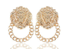 Golden Tone Venetian Etched Lion King Heads Chain Hoop Stud Dangle Earrings