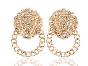 Golden Venetian Etched Lion King Heads Chain Hoop Stud Dangle Earrings Jewelry