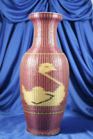 Woven Rattan Bamboo Sheathed Porcelain Vase Ducks Signed