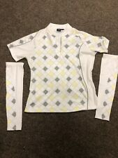 N'Vo Lanctot Womens Cycling Golf Shirt Size L White Pockets 1/3 Zip Up +Sleeves
