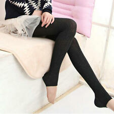 Women Winter Wheat Stripe Skinny Slim Stretch Leggings Thick Warm Foot Pants