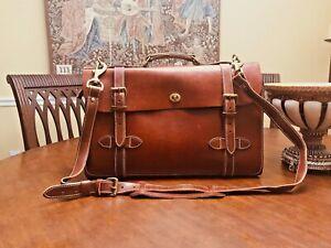 J. PETERMAN  Vintage Tan Leather 1928 Aviator Briefcase/ Messenger Bag - US Made