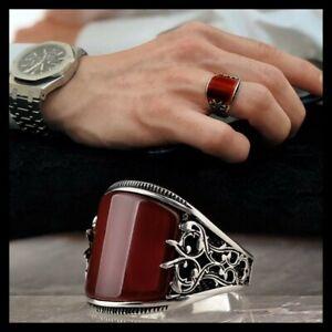 925 Sterling Silver Turkish Handmade Jewelry Agate Aqeeq Stone Men's Ring