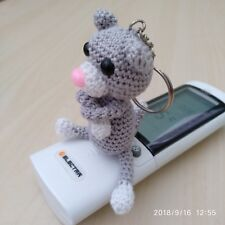 "HAND MADE Amigurumi Cat Amineko Crochet Toy Keychain  Grey 3.3""  Cotton"