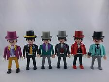 PLAYMOBIL 1900,rosa Serie, 6 feine Herren in ihren Anzügen, Nostalgiehaus