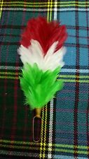 Feather Plume Hackle Red White Irish Green Glengarry Cap/Balmoral Hat Hackles 6""