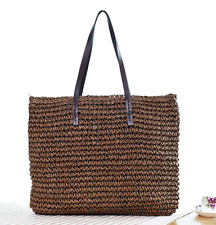Women Straw Bag Beach Shoulder Hand Large Woven Handbag Zipper Lady Tote Shopper