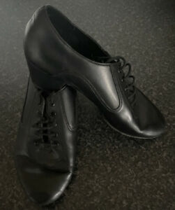 Latin, Ballroom Shoes, Leather, Black, Men's, Boys.Size 6