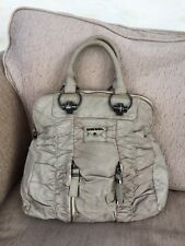 Diesel grey taupe beige tote soft slouchy faux leather designer handbag ruched