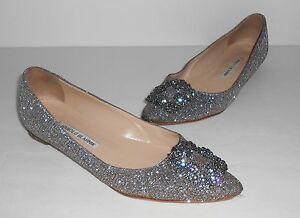 Manolo Blahnik Jeweled Pointy Toe Flat Sz 38