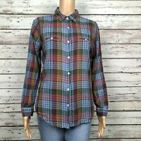 Urban Outfitters BDG Button Up Shirt Top MEDIUM Muted Plaid Tissue Thin Cotton