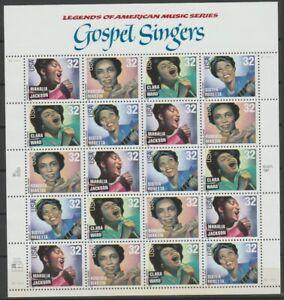 Gospel Singers Scott #3216-19  Sheet of 20-32 Cent Stamps MNH