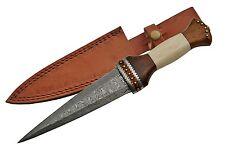 """Celtic Scottish - Genuine Damascus Sgian Skean Dubh Dirk Dagger 12.5"""" Knife Bone"""