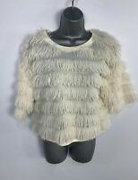 WOMENS NEXT IVORY FLUFFY STRIPE CASUAL PULLOVER JUMPER SWEATER TOP SIZE UK 12
