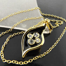 FSA533 18CT YELLOW GF GOLD BLACK ENAMEL DIAMOND SIMULATED PENDANT NECKLACE