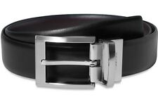 $125 CALVIN KLEIN Men's BLACK BROWN FAUX LEATHER REVERSIBLE DRESS BELT SIZE 38