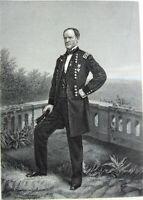 Civil War General WILLIAM TECUMSEH SHERMAN Scorched Earth ~ 1881 Print Engraving