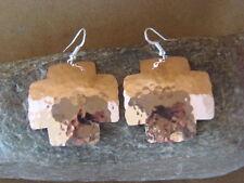 Navajo Indian Hand Stamped Hammered Cross Copper Earrings by Douglas Etsitty!