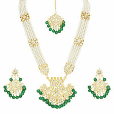 Indian Bollywood Gold Plated Bridal Kundan Necklace Jhumki Earring Jewelry Set