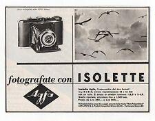Pubblicità epoca 1940 ISOLETTE AGFA FOTO PHOTO advert werbung publicitè reklame